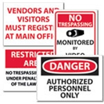 Signs: Admittance & Security