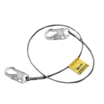 "3' SS 1/4"" Wire Rope Lanyard with 2 Locking Snap Hooks"