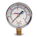 "USABlueBook 2.5"" Gauge' 0 to 100 psi' Brass' Dry' Steel Case"