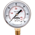 "Winters Lead Free 2.5"" Gauge' 0 to 60 PSI' 1/4"" Connect.' PEM213LF"