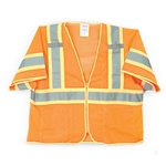 Tingley ANSI Class 3 Fluorescent Orange/Red Poly-Mesh Vests w/ Zipper Closure' Large/X-Large' V70339.L-XL