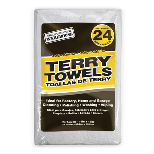 "14"" x 17"" Terry Cloth Cleaning Towels' 24/Pack"