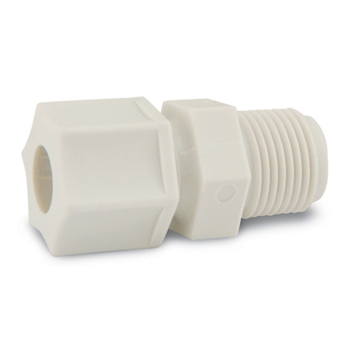 "Polypropylene Male Connector Fittings' 3/8"" Tube x 1/2"" NPT' 10/pk"