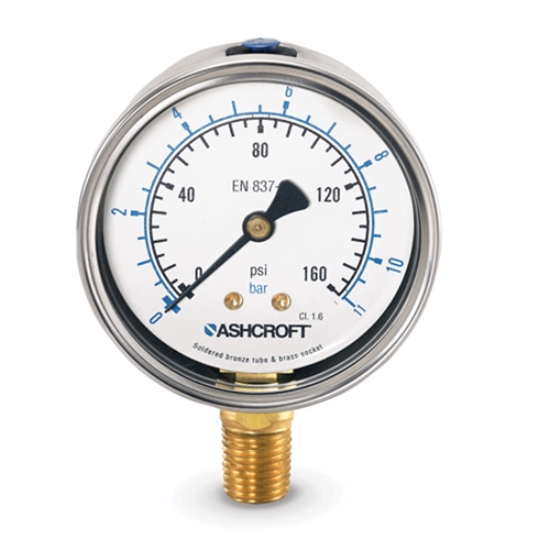 "4"" Ashcroft® High-Accuracy Liquid-Filled Gauge' 0 to 160 psi"