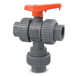 Chemtrol 3-Way True Union Ball Valve' PVC/FKM' 2 in Socket' MA781AD